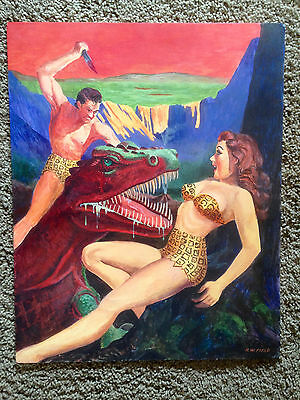 Original Art JUNGLE STORIES Pulp Cover Painting (George Gross) Kigor Like Tarzan