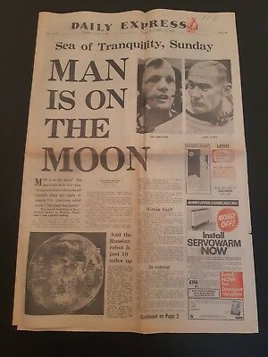 July 20Th 1969 Man On The Moon- Neil Armstrong- Daily Express Newspaper Apollo11