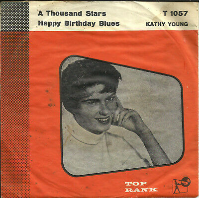 """7"""" KATHY YOUNG - THOUSAND STARS - megarare DK-SONET T 1057 (1961)"""