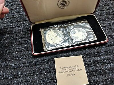 1974 Iceland Silver Proof 2 Coin Set w/box and COA - #6