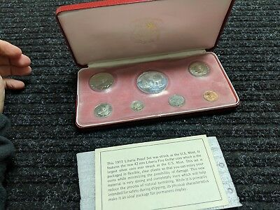 1973 Liberia 7 Coin Proof Set with SILVER w Box - #8