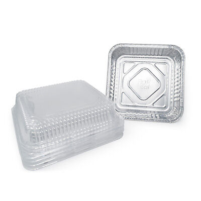 Fig and Leaf (35 Pack) Aluminum Foil Square Baking Pans with Lids   Size 8 x 8  