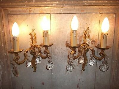 French exquisite vintage a pair of bronze crystals droplets wall light solid