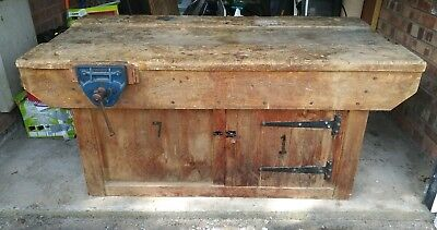 School Wood Work Bench With Vices - Vintage - Reclaimed