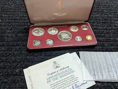 1976 BAHAMAS ISLANDS 9 Coin Silver Proof Set 99 Grams- #9