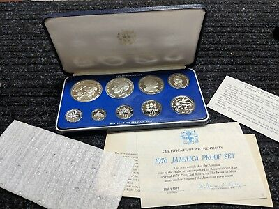 1976 JAMAICA 9 Coin Proof Set with SILVER in Box with COA - #10