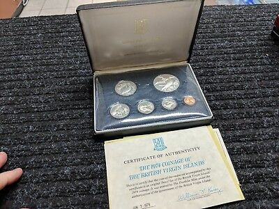 BRITISH VIRGIN ISLANDS 6 Coins 1974 PROOF Set w/ box and COA- #14