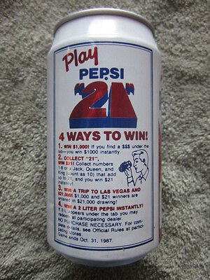"1987  Pepsi Cola  Can  "" Play Pepsi 21"""
