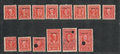 "* US Sc#R311-327 Used, ""1941"" Red Revenue Stamps, Partial Set"