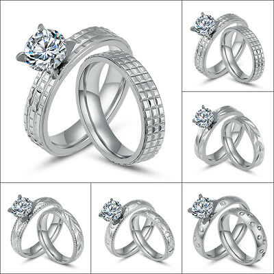 Couple Stainless Steel Zirconia Silver Rings Set Engagement Wedding Band Sz 6-11