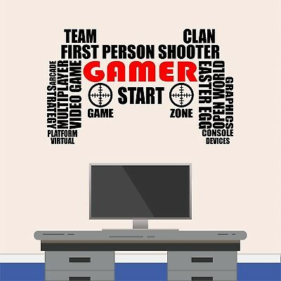 Gaming Controller Word Cloud Wall Art Sticker Boys Girls Gamer Bedroom Decal