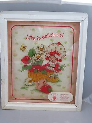 Vintage Strawberry Shortcake glass picture 9 x 11- Lulu - Life is delicious