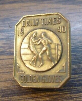1940 Vintage Antique Brass Boxing Glove Award Pin Daily Times Golden Gloves