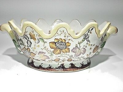 Yellow Floral Patterned Wong Lee 1895 Crackle Glaze Oblong Center/Console  Bowl