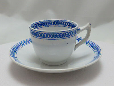 Mid 19th C Victorian Copeland Late Spode Coffee Cup & Saucer - Blue border