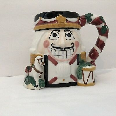 'TIS THE SEASON Nutcracker And Drum Christmas Holiday Mug Ceramic White Elephant