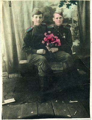 1946 WW2 Red Army RKKA Two Friends Soldiers Russian photo