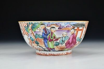 18th Century Chinese Export Rose Mandarin Porcelain Bowl w/ Enamel Characters