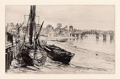 """Charles WATSON 1800s Etching """"View of Chelsea from the Thames"""" Framed Signed COA"""