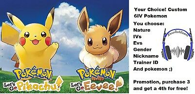 Pokemon Lets Go Pikachu Eevee 6IV Custom Pokémon Of Your Choice!