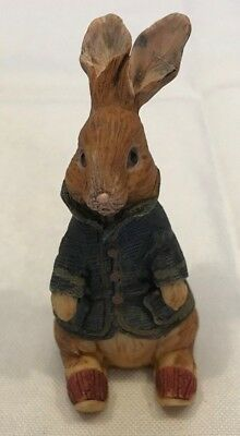 "EASTER BUNNY  Figurine  "" Peter Rabbit"" - blue coat red shoes 3"" tall"