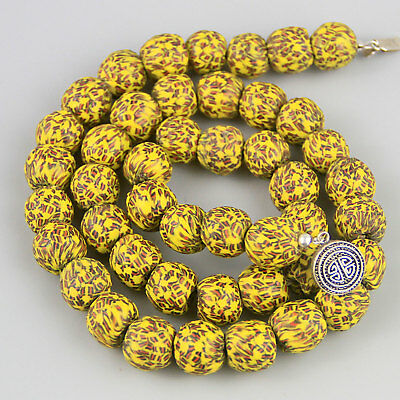 Vintage African Yellow Glass Bead Necklace w Sterling Clasp Krobo Newly Strung