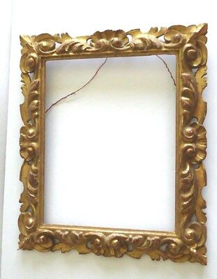 "Antique Italian Ornate Carved Rococo Gilt Gold Wood Painting Art Frame 18"" x 15"""