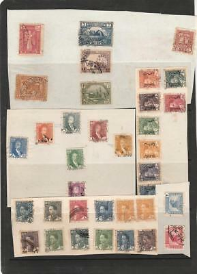 IRAQ Old Collection 1923-1941 on Pieces of Album Pages, Used Unsorted, 38 Stamps