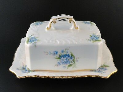 Hammersley Bone China Covered Butter Dish Forget Me Not England