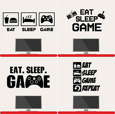 Eat Sleep Game Wall Art Sticker Gaming Gamer Boys Girls Kids Bedroom Decal