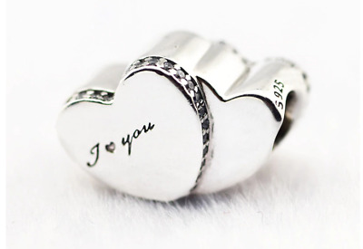 CHARM I Love You Two Hearts for BRACELET Silver Valentine's Day New