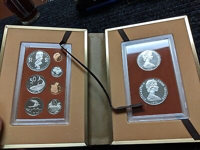 1974 Cook Islands 9 Coin Proof Set w/2 Silver Coins In Presentation Book- #50