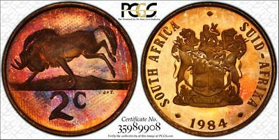 1984 South Africa 2 Cent 1C PCGS PR67RB - Colorful Rainbow Textile Toning
