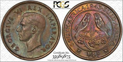 1943 South Africa 1/4D PCGS MS63BN - Colorful Toning