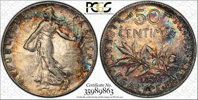 1920 France 50 Centismes 50C PCGS AU55 - Colorful Rainbow Toning