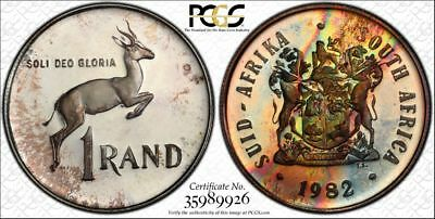 1982 South Africa 1 Rand 1R PCGS PR67CAM - Colorful Rainbow Toning