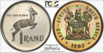 1982 South Africa 1 Rand 1R PCGS PR65DCAM - Colorful Rainbow Toning