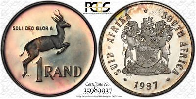 1987 South Africa 1 Rand 1R PCGS PR67CAM - Colorful Rainbow Toning