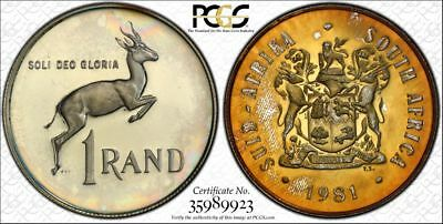 1981 South Africa 1 Rand 1R PCGS PR65CAM - Colorful Rainbow Textile Toning