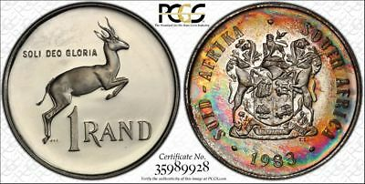 1983 South Africa 1 Rand 1R PCGS PR67CAM - Colorful Rainbow Toning