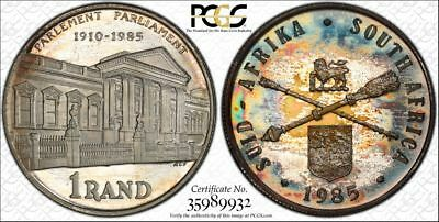 1985 South Africa 1 Rand 1R PCGS PR68DCAM - Colorful Rainbow Textile Toning