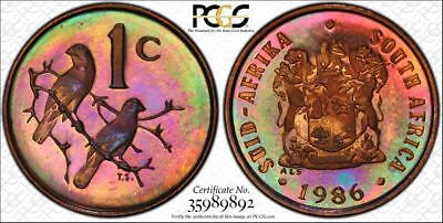 1986 South Africa 1 Cent 1C PCGS PR67RB - Colorful Rainbow Toning