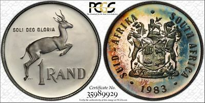 1983 South Africa 1 Rand 1R PCGS PR67CAM - Colorful Rainbow Textile Toning