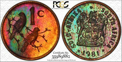 1981 South Africa 1 Cent 1C PCGS PR64RB - Colorful Rainbow Textile Toning