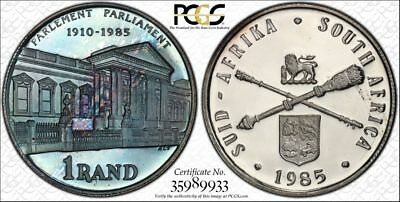 1985 South Africa 1 Rand 1R PCGS PR67DCAM - Colorful Rainbow Toning