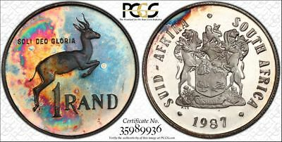 1987 South Africa 1 Rand 1R PCGS PR64CAM - Colorful Rainbow Toning
