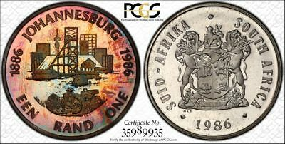 1986 South Africa 1 Rand 1R PCGS PR66DCAM - Colorful Rainbow Toning