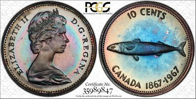 1967 Canada 10 Cents Dime 10C PCGS PL64 - Proof Like - Colorful Rainbow Toning