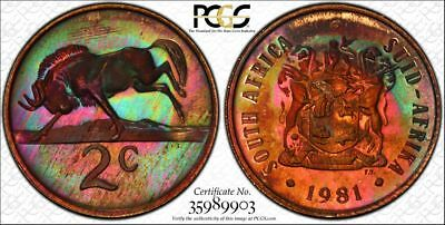 1981 South Africa 2 Cent 1C PCGS PR67RB - Colorful Rainbow Textile Toning