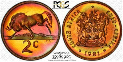 1981 South Africa 2 Cent 1C PCGS PR66RB - Colorful Rainbow Toning